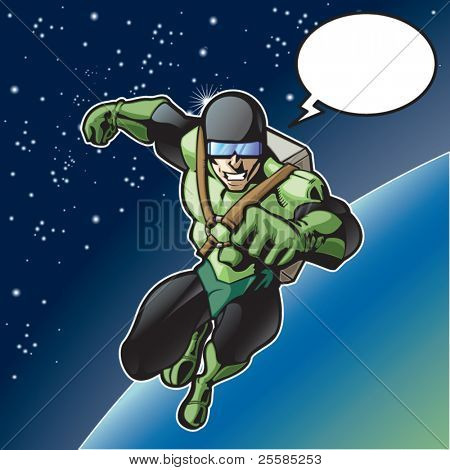 Super hero with rocket pack above a planet.