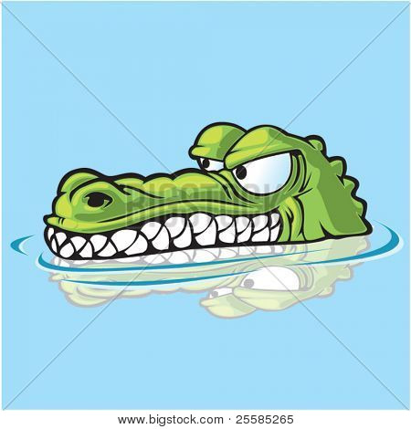 Alligator or crocodile sneaking up on prey.