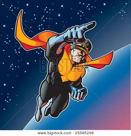 Super-Helden mit Cape über einen Planeten fliegen.