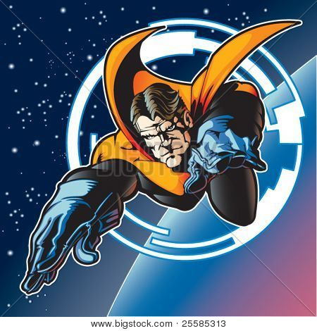 Super hero with cape flying above a planet.