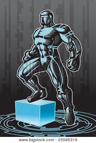 Tecnologicamente avançado super-herói olhando em um ambiente de cyber.