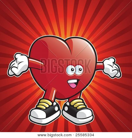 Cartoon heart wearing shoes with arms stretched out.