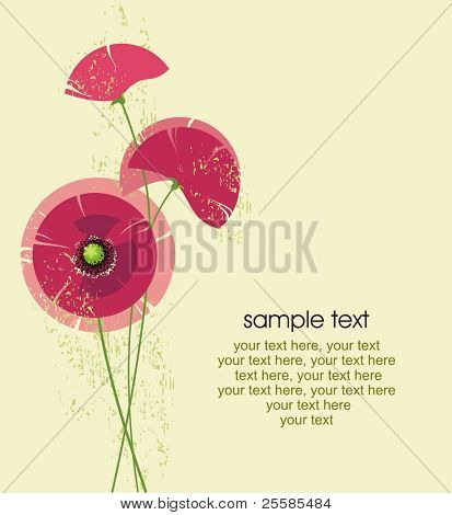 card design with stylized poppy flowers