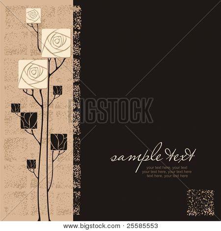 diseño de la tarjeta con vector estilizado rosas y texto