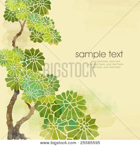 Painted watercolor card design with stylized chestnut leaves and text