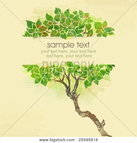 Painted watercolor card design with trees and text