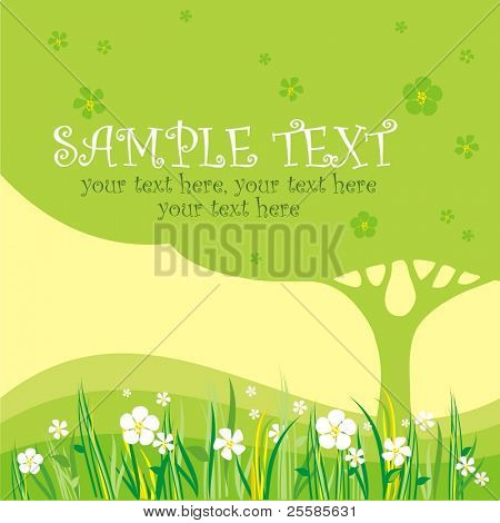 card design with stylized tree and flowers