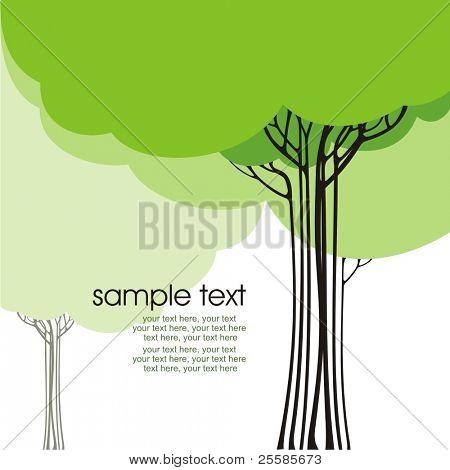 design de cartão com árvores estilizadas e texto