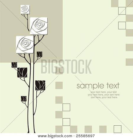 card design with vector stylized roses and text