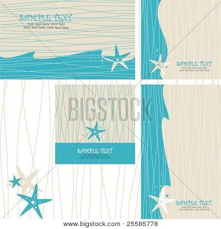 Grußkarten-set mit Sea Star - Einladung für Party oder Hochzeit. Gut für Hochzeit am Strand