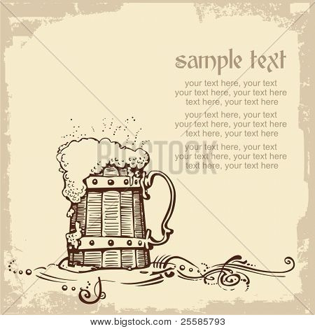 card design with woody beer mug and place for text