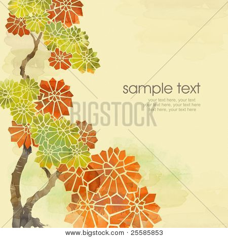 Painted watercolor card design with stylized autumn chestnut leaves and text