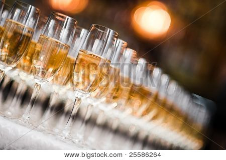 A row of champagne glasses