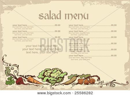 diseño de menú con verduras y lugar para texto