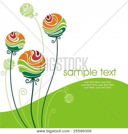 card with decorative stylized color flowers