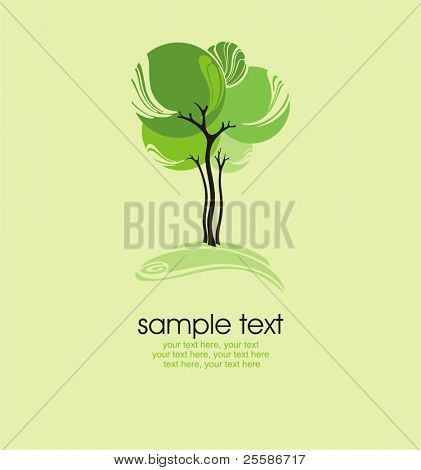 card with stylized tree and text