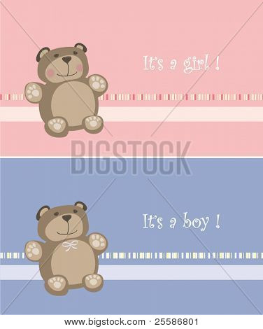 baby cards with teddy bear. baby arrival announcement