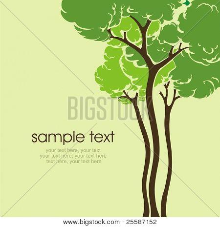 cartão com árvore estilizada e texto