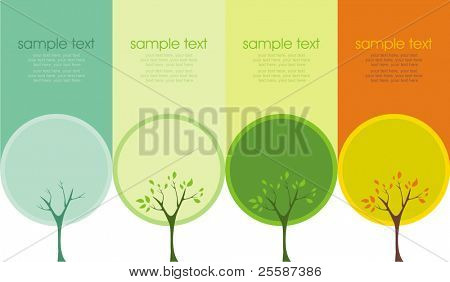 A tree in four different seasons (spring, summer, winter and fall)