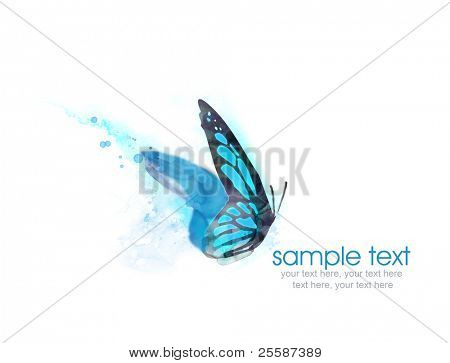 Painted watercolor card with butterfly and text