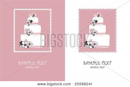 card with sweet pink wedding cake