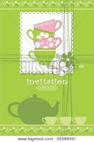 card with teapot and cups