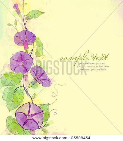 Painted watercolor card with convolvulus and text