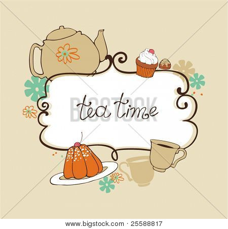 card with teapot, cups and sweets