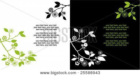 Two variants of cards design with floral pattern and text
