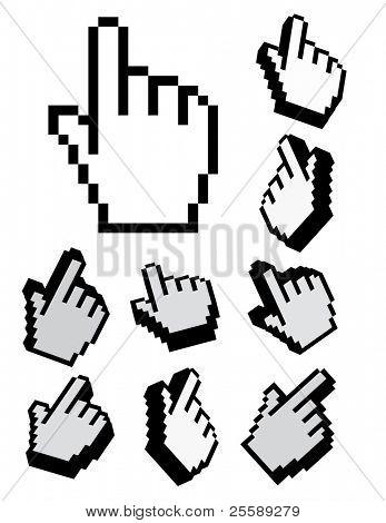 set of 3d vector and pixel cursors