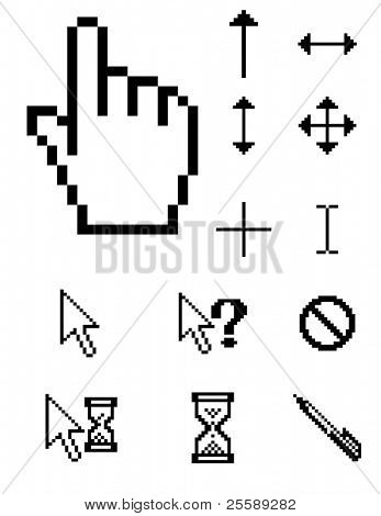 set of vector pixel cursors