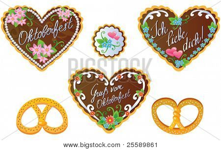 Oktoberfest souvenirs - gingerbread cookies and pretzel