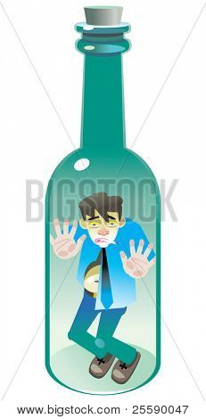 The alcoholic in a glass bottle