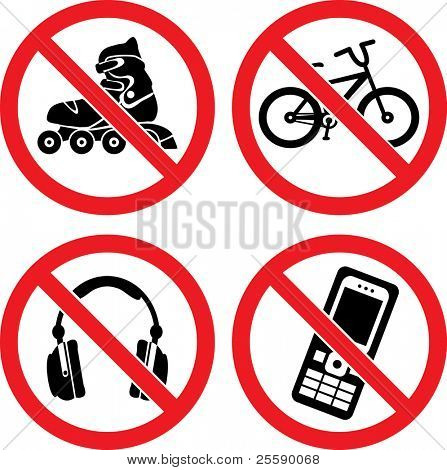 "Forbidding Vector Signs ""No Roller-skate"", ""No Earphones"", ""No Video"" and ""No Phone"""