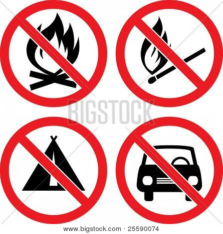 "Forbidding Vector Signs ""No Automobile"", ""No Fire"", ""No Camping"" and ""No Match"""