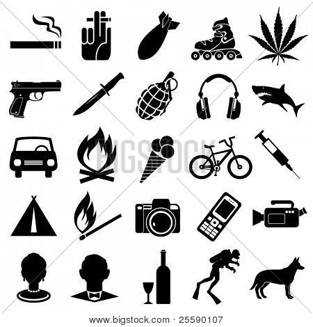 Set of different black vector symbols