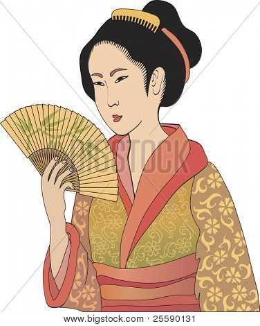 Japanese geisha – vector illustration in style of traditional japanese engraving