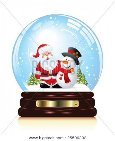 Snow globe with christmas charachters