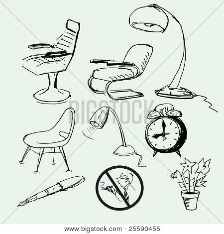set of hand-drawn icon