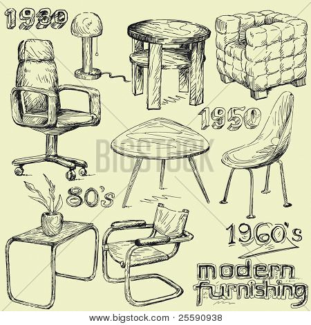 modern home furniture doodles