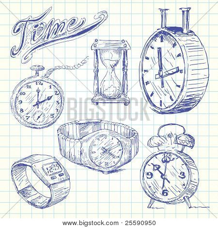 clocks and watches doodles