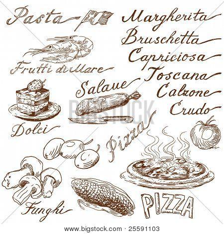 garabatos de comida italiana