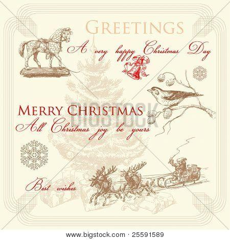 hand drawn retro christmas greetings