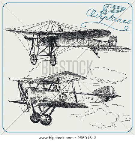 aviões desenhados a mão