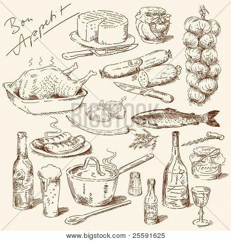 gran colección de alimentos dibujados a mano