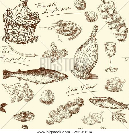 seamless pattern-hand drawn sea food