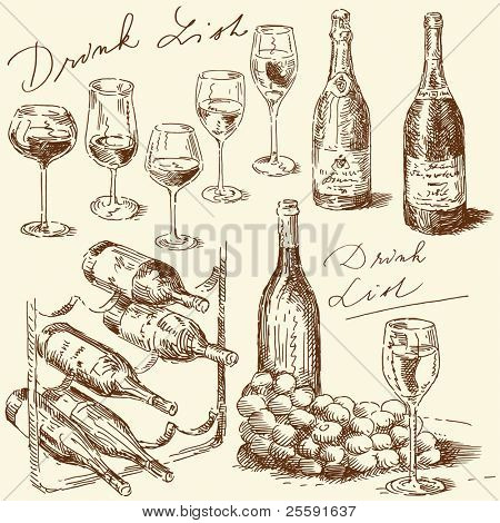 hand drawn wine collection
