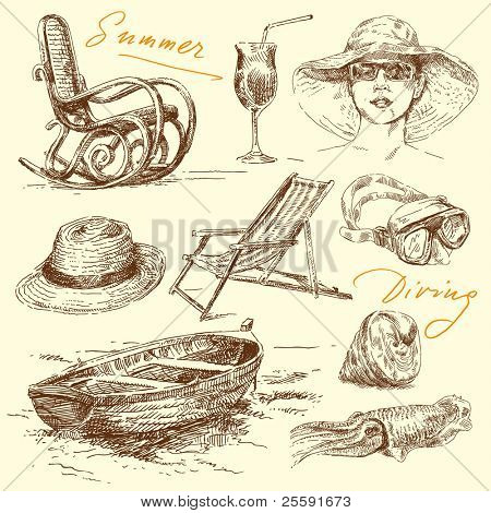 férias de Verão - conjunto de mão desenhada original