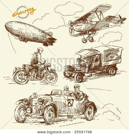 old times vehicles-handmade drawing