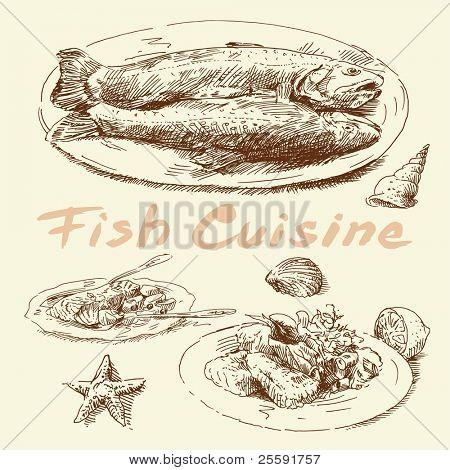 fish cuisine-original hand drawn set